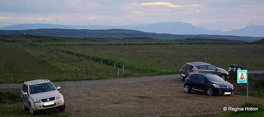 The parking by Hrunalaug Natural Hot Pool in South Iceland -