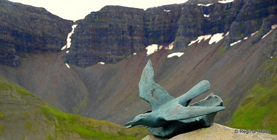 Memorial for lost Russian fishermen at sea Ísafjörður Westfjords