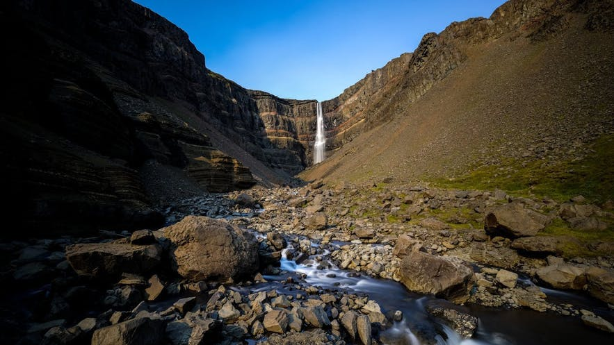 Hiking to Hengifoss waterfall takes approximately forty five minutes.