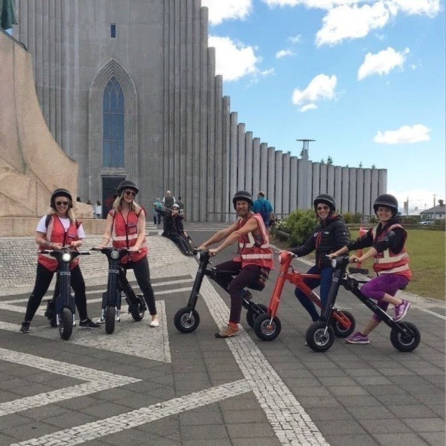A bike tour at Hallgrimskirkja in central Reykjavik, Iceland