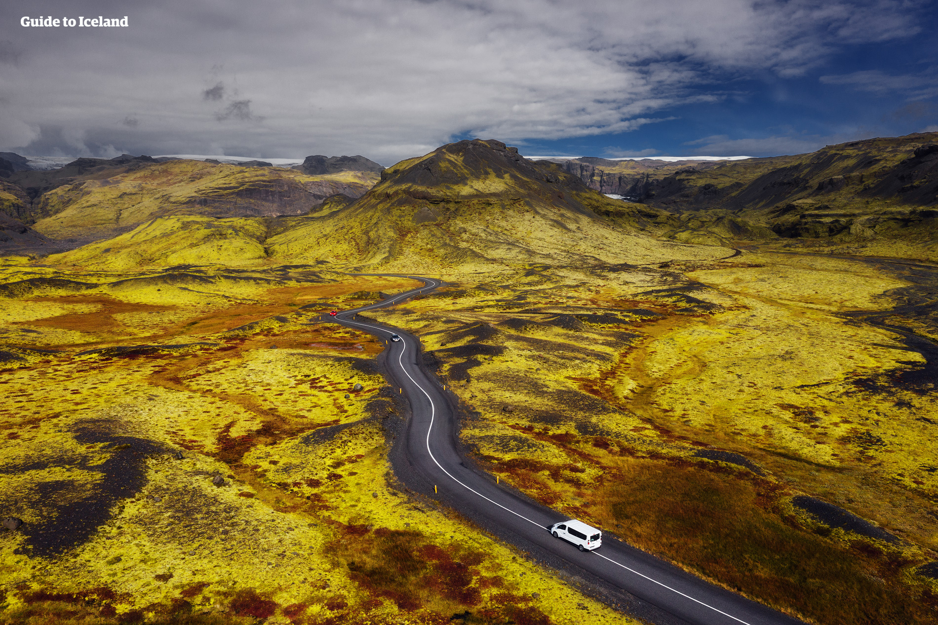 An overhead shot of a road travelling through the South Coast of Iceland.