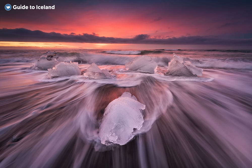 Pieces of ice resting on the Black Sands of the Diamond Beach on Iceland's South Coast.