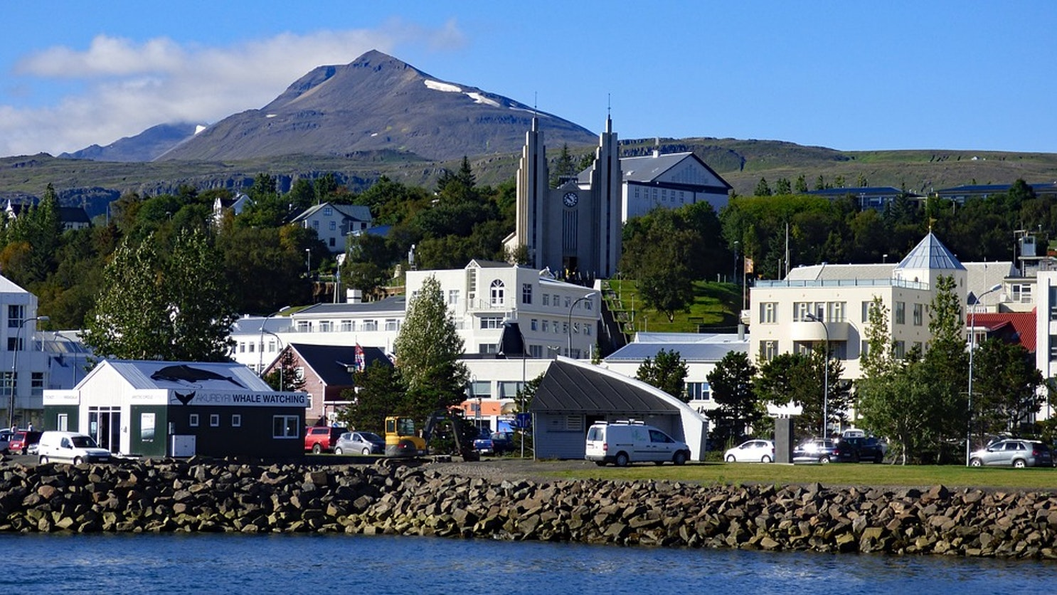 Akureyri, the unofficial capital of Iceland's North, viewd from its harbour.