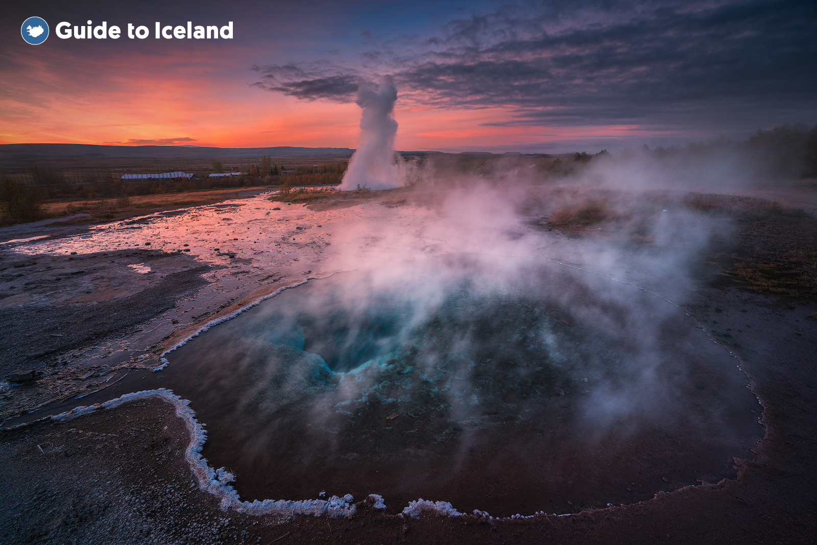 The rising steam from the Geysir Geothermal Area which is part of the famous Golden Circle Tourist Route in South West Iceland.