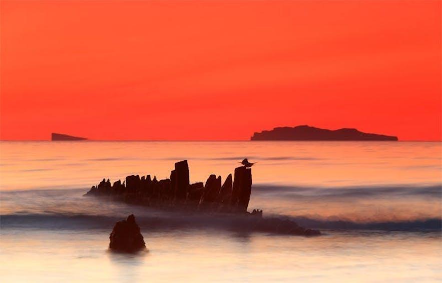 shipwreck at sunset in Skagafjordur