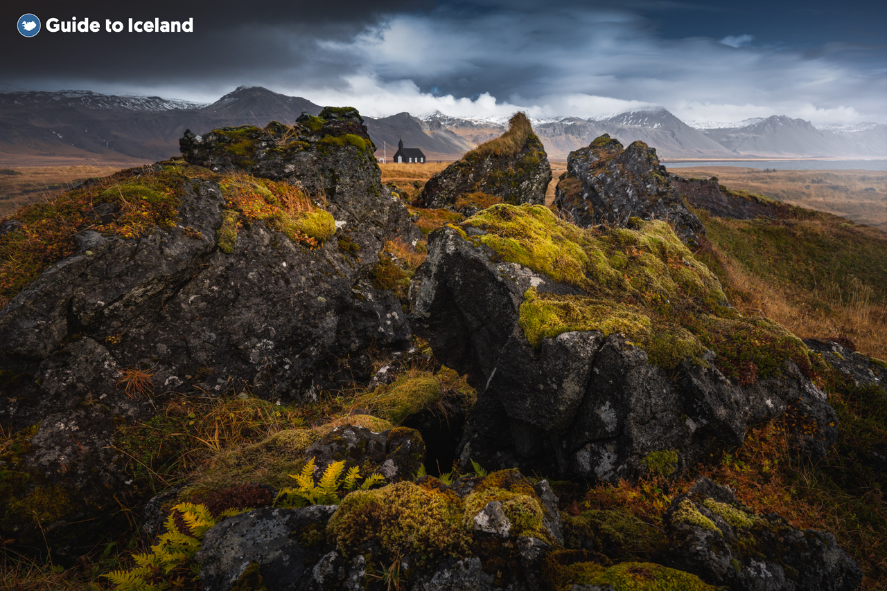 A formation of lava rock, covered in Icelandic moss, on the Snæfellsnes Peninsula.