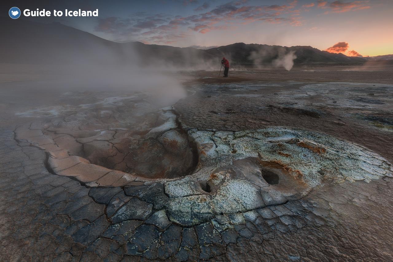 A geothermal landscape in the highlands of Iceland.