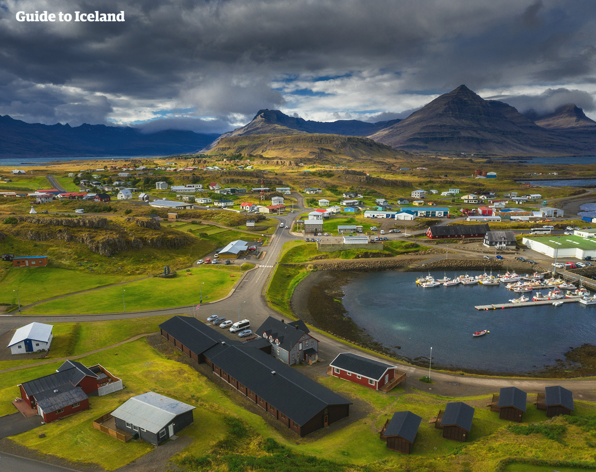 An overhead shot of a quaint town in Iceland's remote Eastfjords.