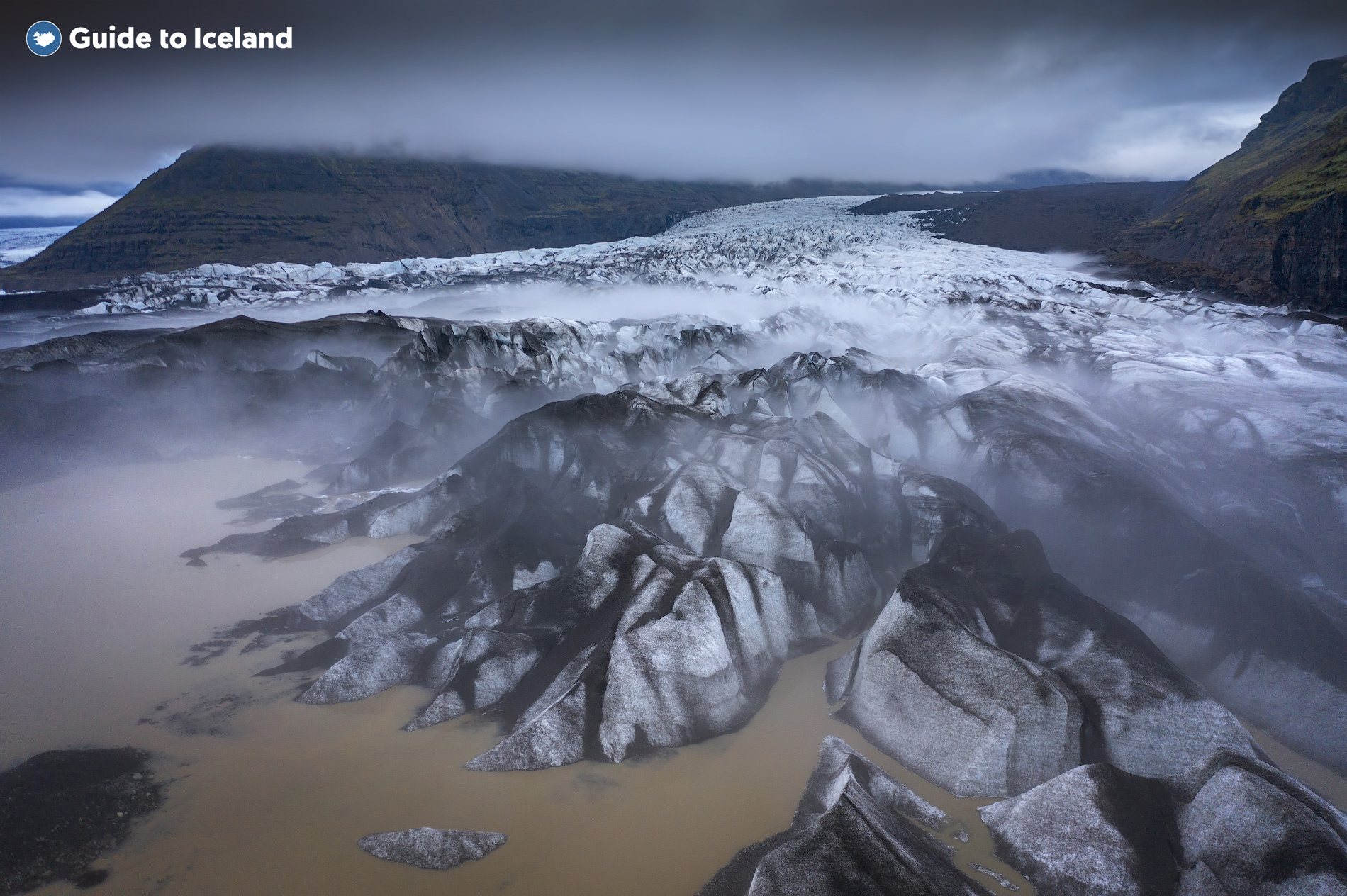 An overhead shot of a glacial tongue on the South Coast of Iceland.