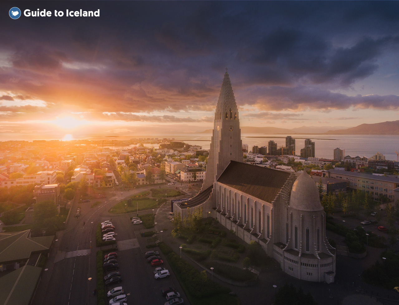 Hallgrímskirkjain downtown Reykjavik, pictured at sunset.