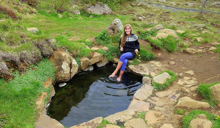 Regína by Krosslaug hot pool in West-Iceland