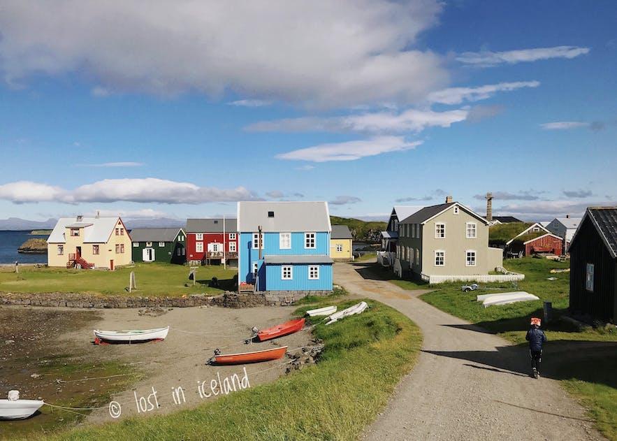 五颜六色的冰岛弗拉泰小岛
