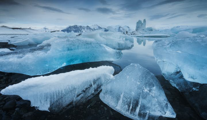 Pieces of ice floating in Jokulsarlon Glacier Lagoon in the Southeast of Iceland.
