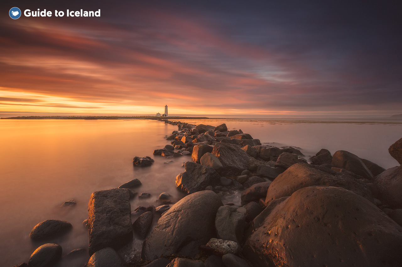 The Grotta Lighthouse in Reykjavik looking out to a sunset.