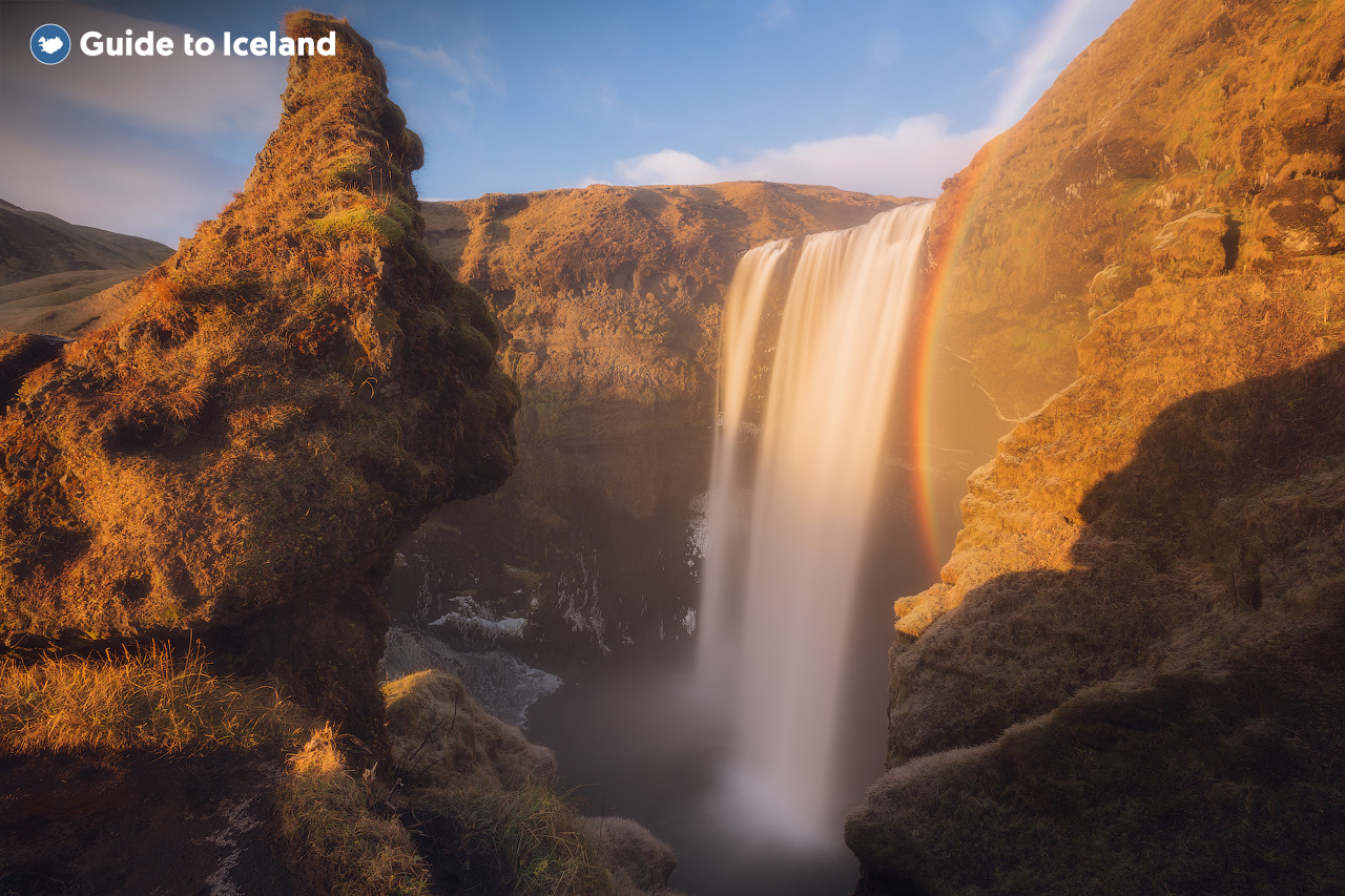 Skogafoss Waterfall on Iceland's South Coast, pictured in summer.
