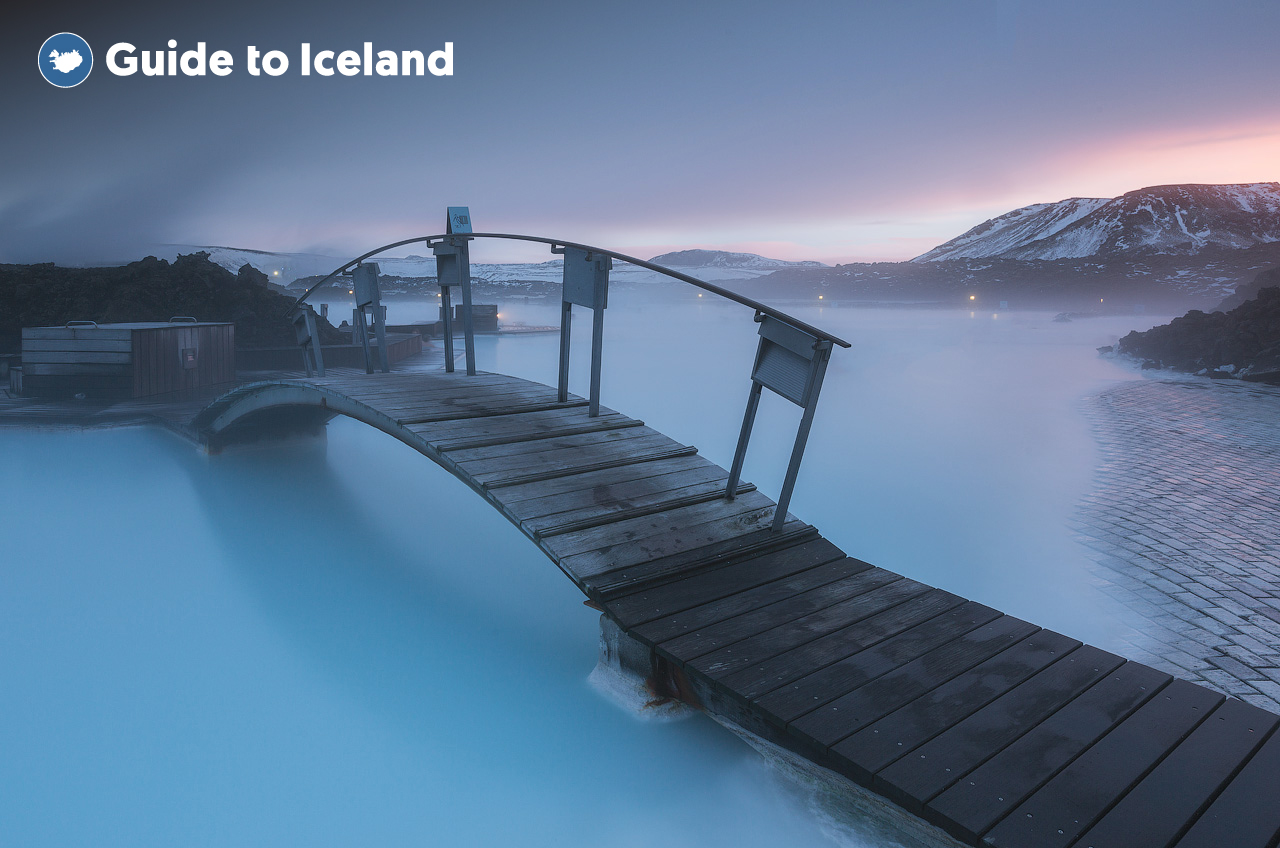 A wooden bridge over the geothermal heated waters of the Blue Lagoon Spa, close to Keflavik International Airport.