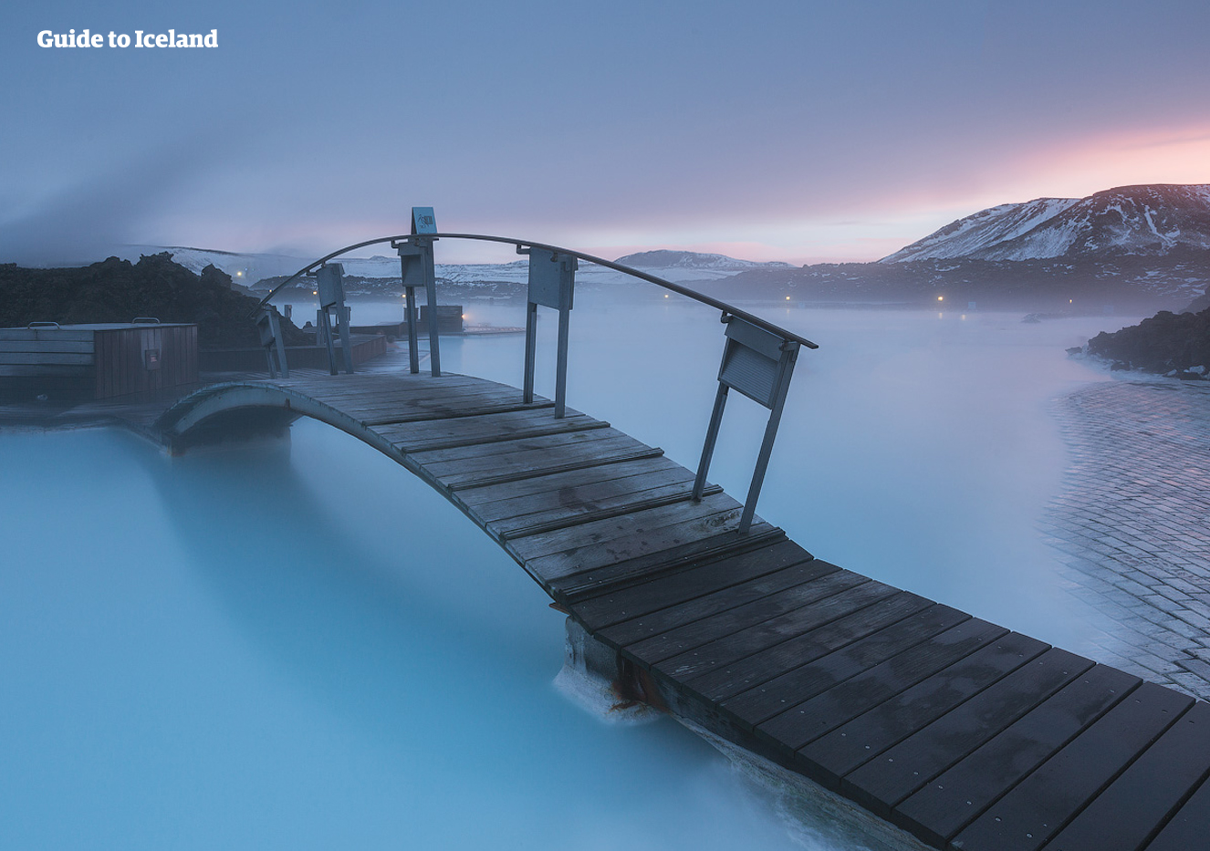 The Blue Lagoon's natural heat rising in a winter landscape.