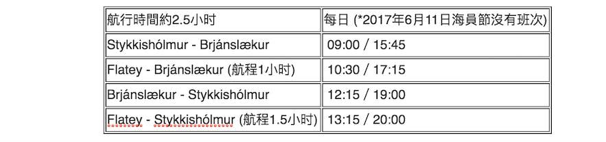 冰島Baldur渡輪夏季班次時間表