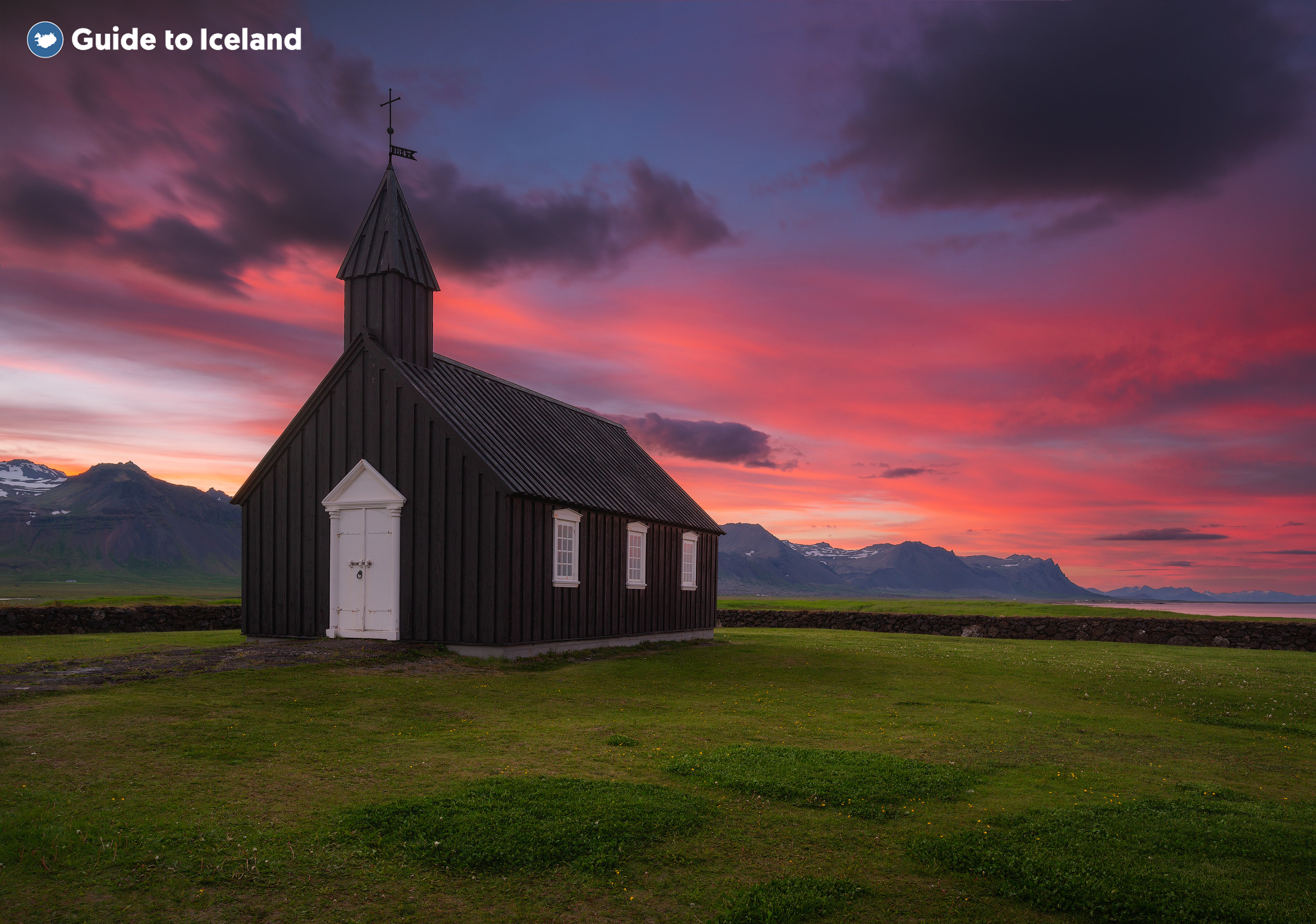 The Budir Black Church on the Snaefellsnes Peninsula in Western Iceland pictured at sunset.