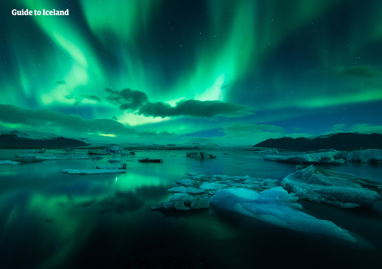 The Northern Lights dancing over the Jokulsarlon Glacier Lagoon in the South East of Iceland.