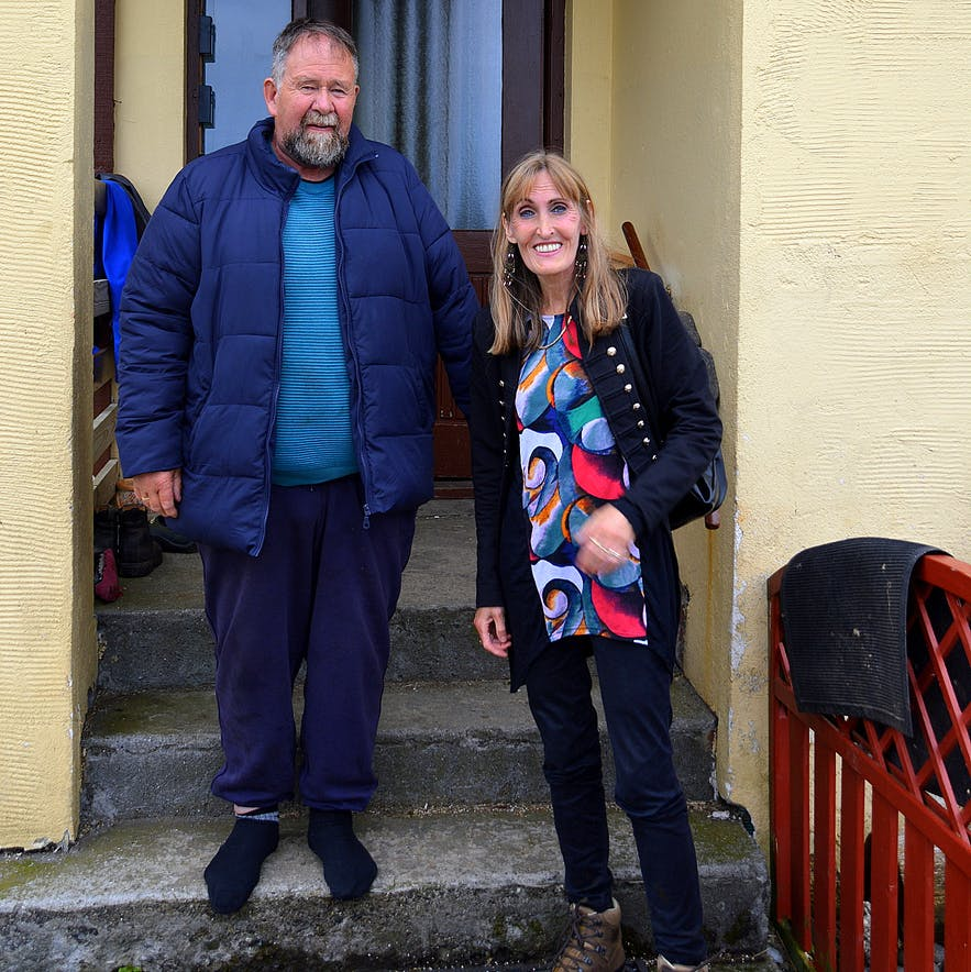 Regína with Ragnar, her relative at Kverná farm