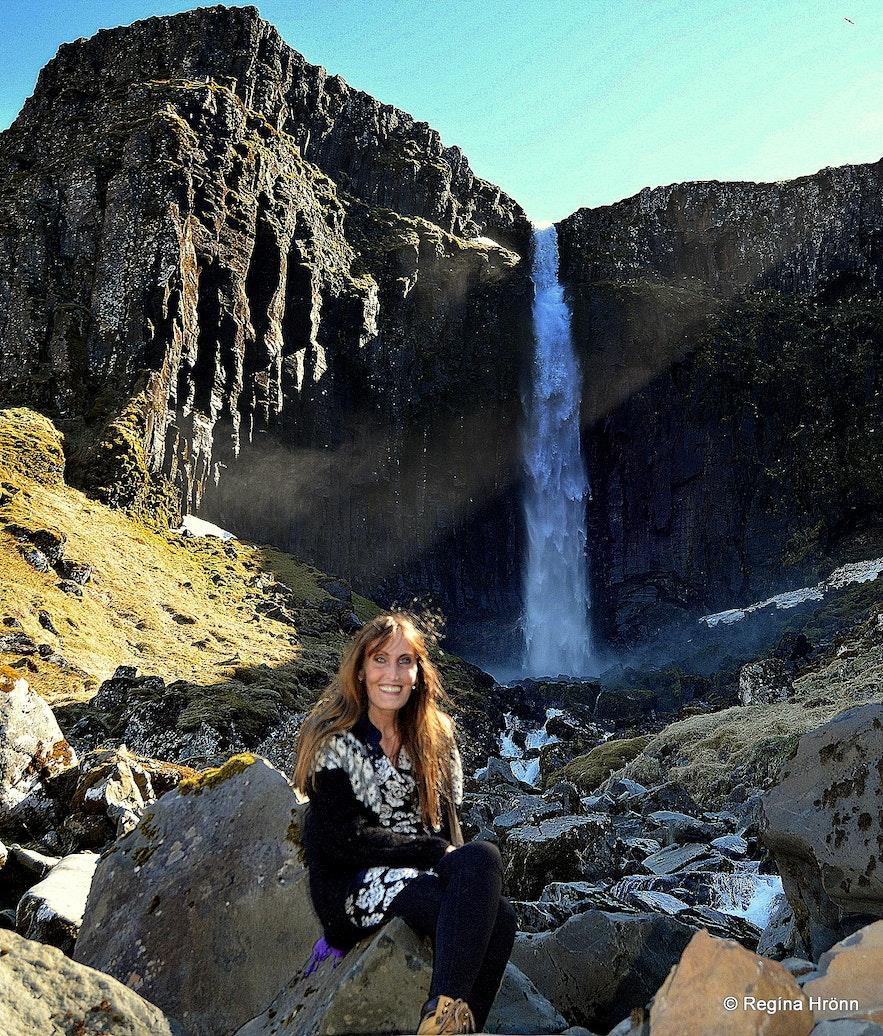 Regína by Grundarfoss waterfall in Grundarfjörður