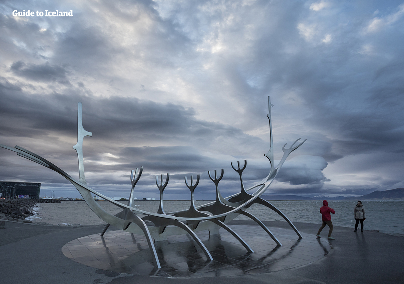 The Sun Voyager Monument on the shoreline of Reykjavik.