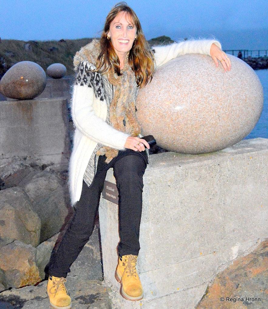 Regína by the eggs at Gleðivík bay in Djúpavogur