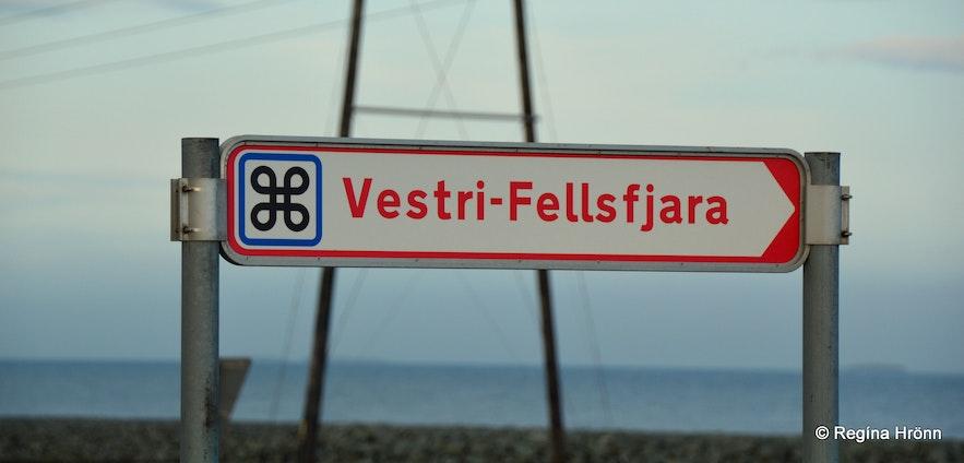 The sign Vestri Fellsfjara by Jökulsárlón