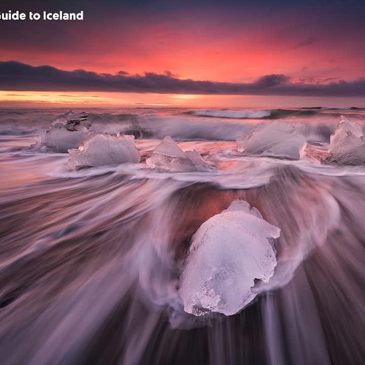 The Diamond Beach is a black sand beach in South Iceland where icebergs was ashore.