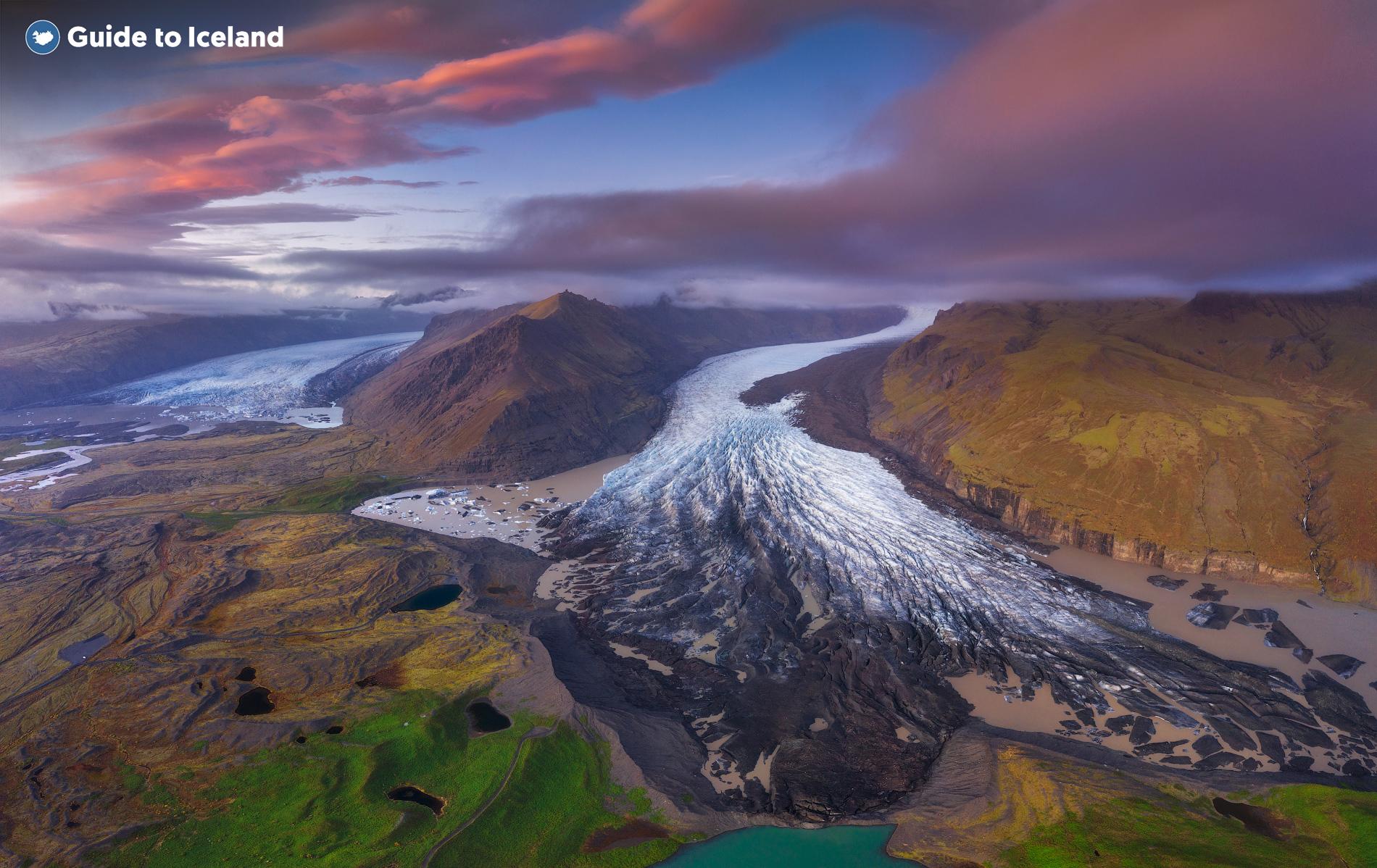 La réserve naturelle de Skaftafell se trouve à Öræfasveit, la région ouest d'Austur-Skaftafellssýsla en Islande.