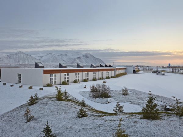 Icelandair Hotel Hamar is stunning under winter snows.