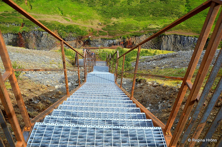 Stairs leading into Stuðlagil canyon in East-Iceland