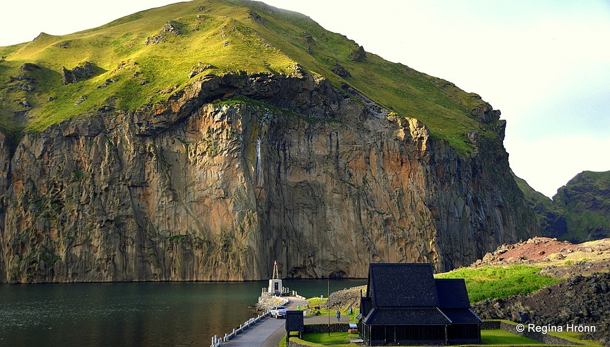 Westman Islands South-Iceland - the stave church and Heimaklettur rock