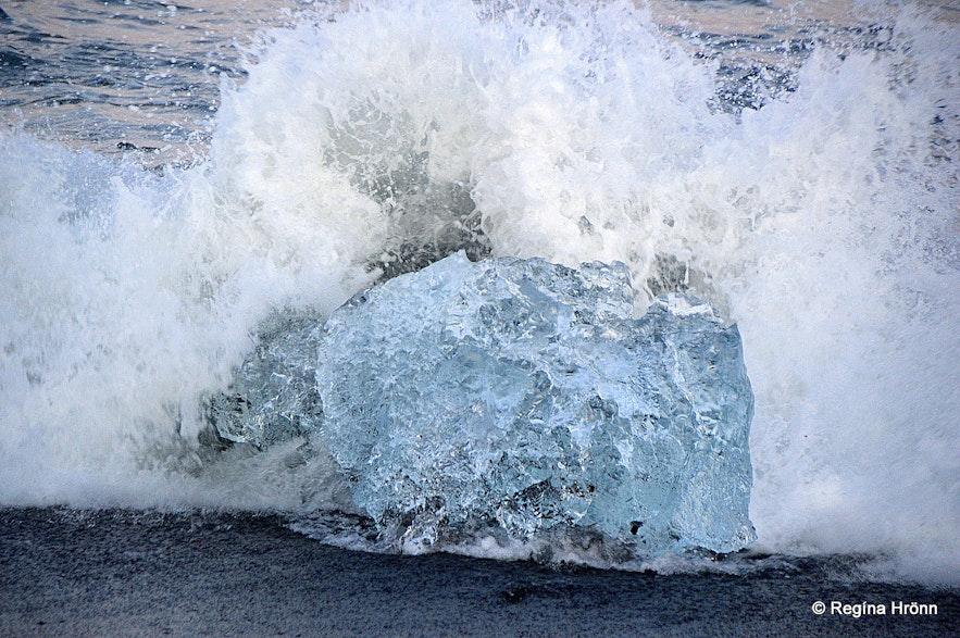 Ice on Fellsfjara beach