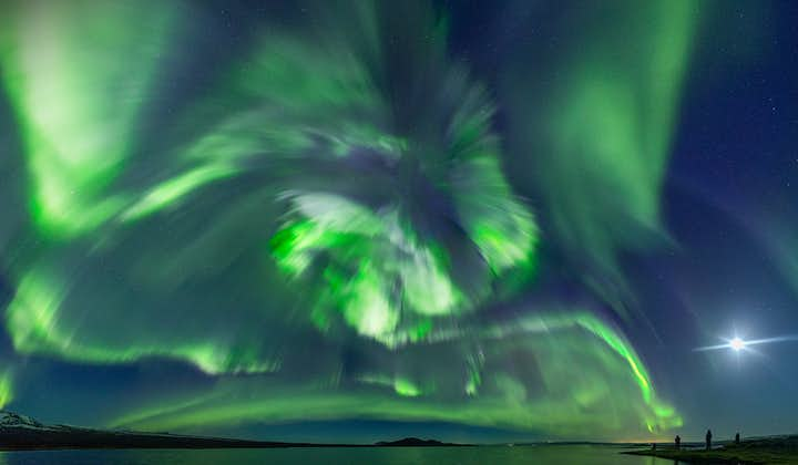 A magical display of the auroras dances above an Icelandic landscape.