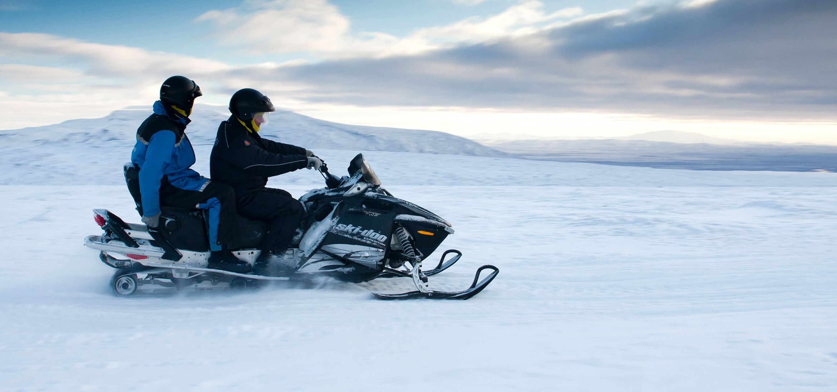 Snowmobiling is a great adventure to take in south-west Iceland.