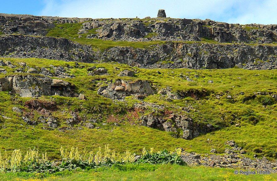 Grettisvarða cairn in Vatnsfjörður Westfjords of Iceland