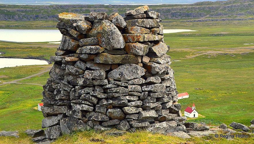 Grettisvarða cairn in Vatnsdalur Westfjords