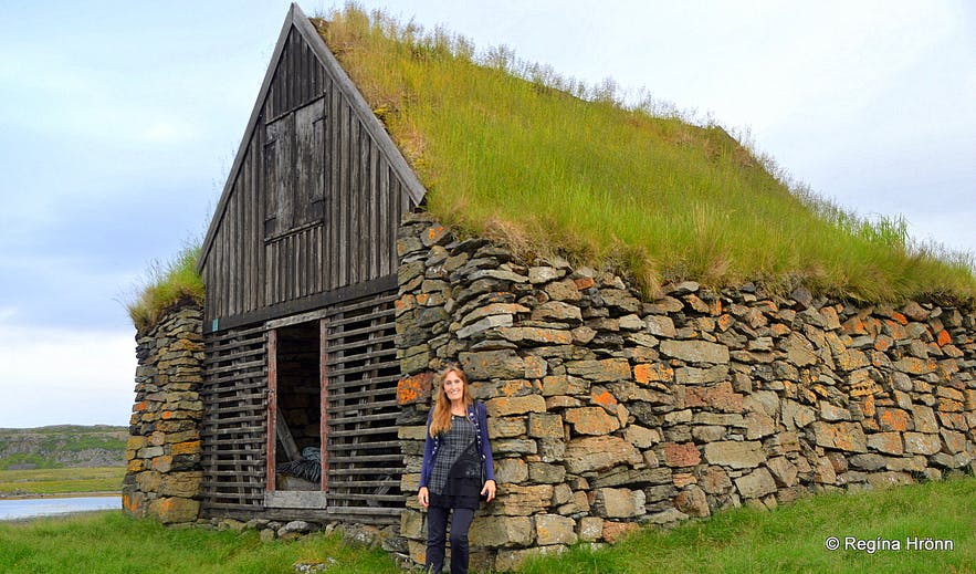 Hjallurinn in Vatnsfjörður - the old turf fish shed