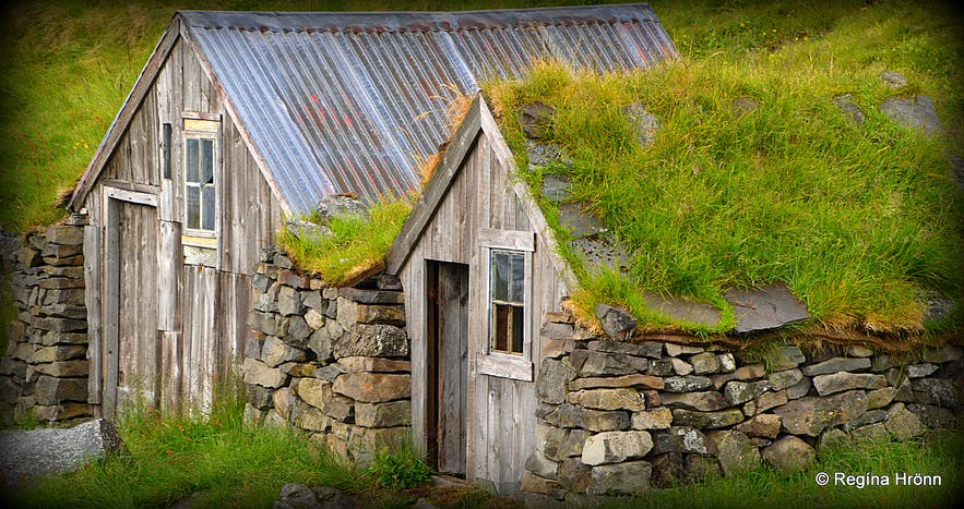 Litlibær turf house in the Westfjords of Iceland outhousesd