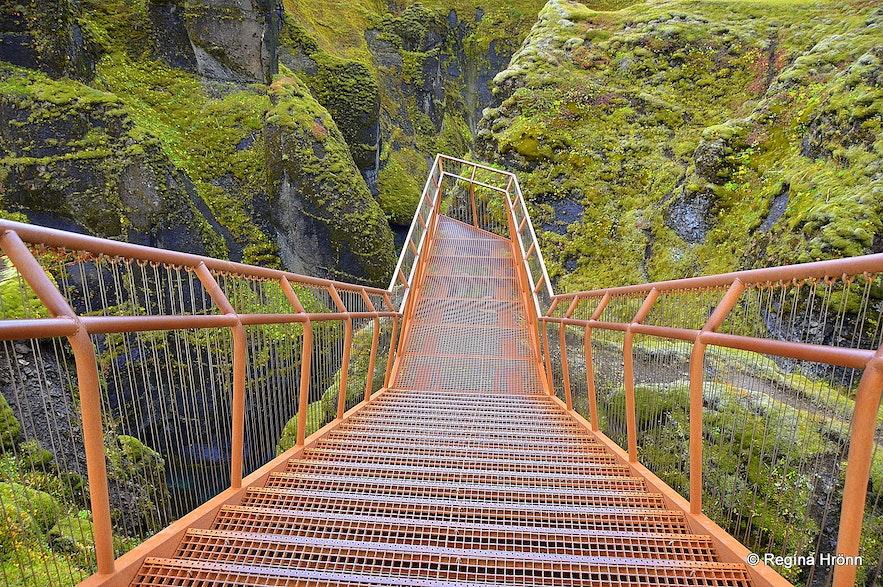 An observation platform in Fjaðrárgljúfur canyon