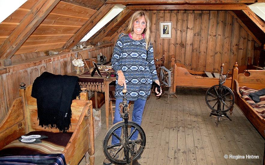 Regína Inside Laufás turf house in North-Iceland