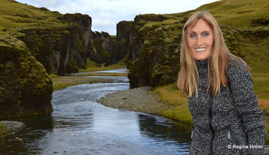 Regína in  Fjaðrárgljúfur Canyon in South-Iceland