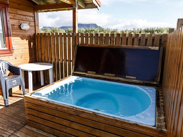 Snorrastaðir has cabins each with their own hot tub.