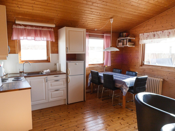 Snorrastaðir's cabins are rustic and charming.