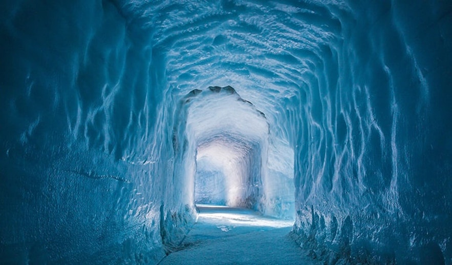 The Langjokull ice tunnel is a manmade Icelandic glacier cave.