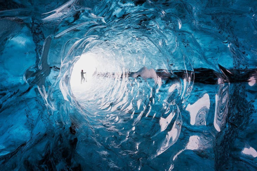 A naturally formed ice tunnel.