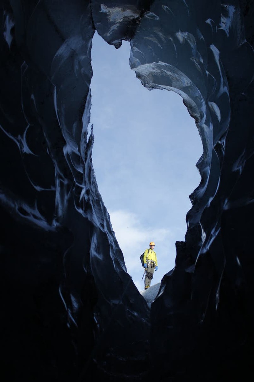 The ice caves have strange and beautiful openings.