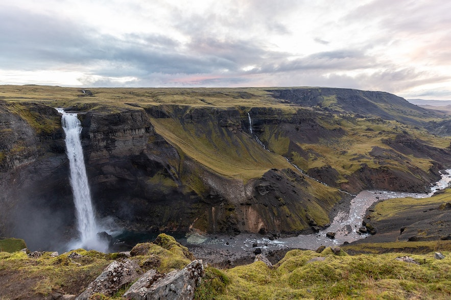 Haifoss is the fourth tallest waterfall in Iceland.